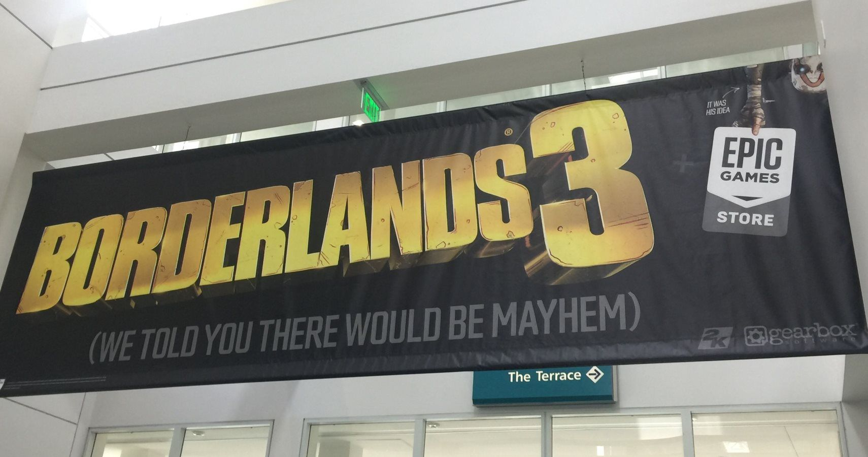 Borderlands 3 E3 Banner Jokes About Epic Game Store Exclusivity