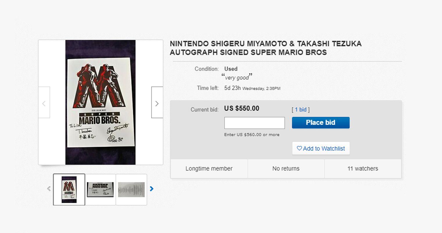 A Super Mario Bros Movie Poster With Shigeru Miyamoto S Signature